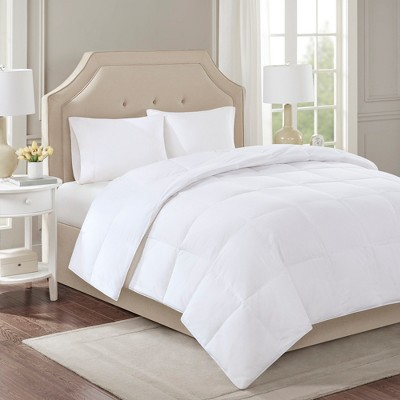 Cotton Sateen Down Comforter Level 2 300 Thread Count 3M Scotchgard (Full/Queen)White