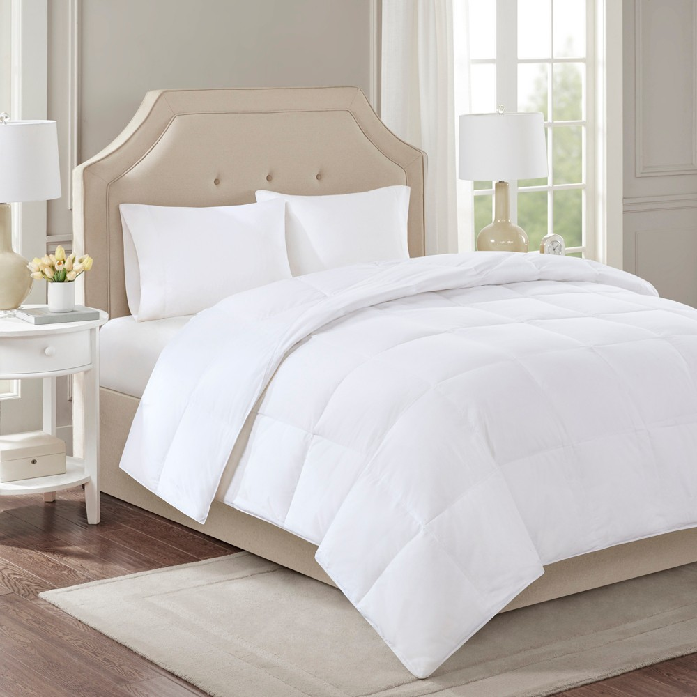 Image of Cotton Sateen Down Comforter Level 2 300 Thread Count 3M Scotchgard (King) White