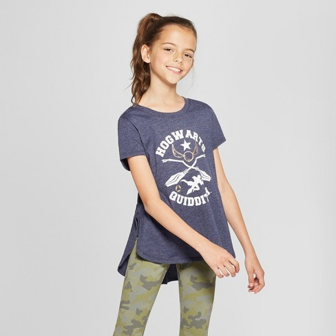 b056452aea1 Girls' Harry Potter Hogwarts Quidditch Short Sleeve T-Shirt - Blue