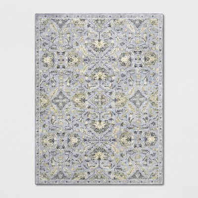 9'x12' Floral Woven Area Rug Gray - Threshold™