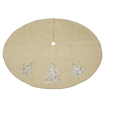 Elegant Christmas Tree Skirts.Melrose 54 Glamour Time Elegant Beige And Metallic Gold Decorative Embroidered Christmas Tree Skirt