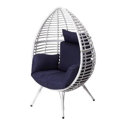 Urban Oasis Wicker Patio Egg Chair - White/Navy - Teamson Home
