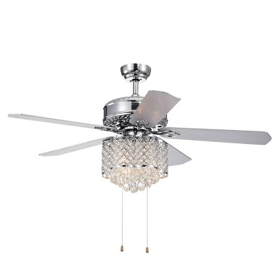 """52"""" x 52"""" x 22"""" 5-Blade Deidor Lighted Ceiling Fan with Crystal Chandelier Silver - Warehouse Of Tiffany"""