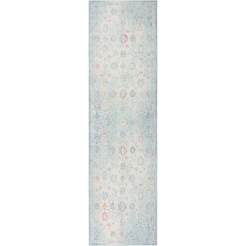 3'X10' Medallion Loomed Runner Sea Foam Green/Blue - Safavieh