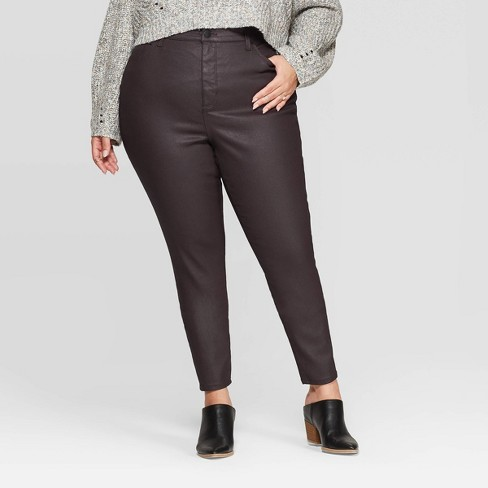 Women's Plus Size High-Rise Coated Skinny Jeans - Universal Thread™ Burgundy - image 1 of 3