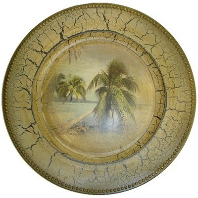 """BigKitchen 13.5"""" Tropical Palm Tree Design Large Charger Plate"""