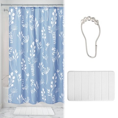 Isla Shower Curtain with Memory Foam Mat and Ring Bundle Blue/White - iDESIGN