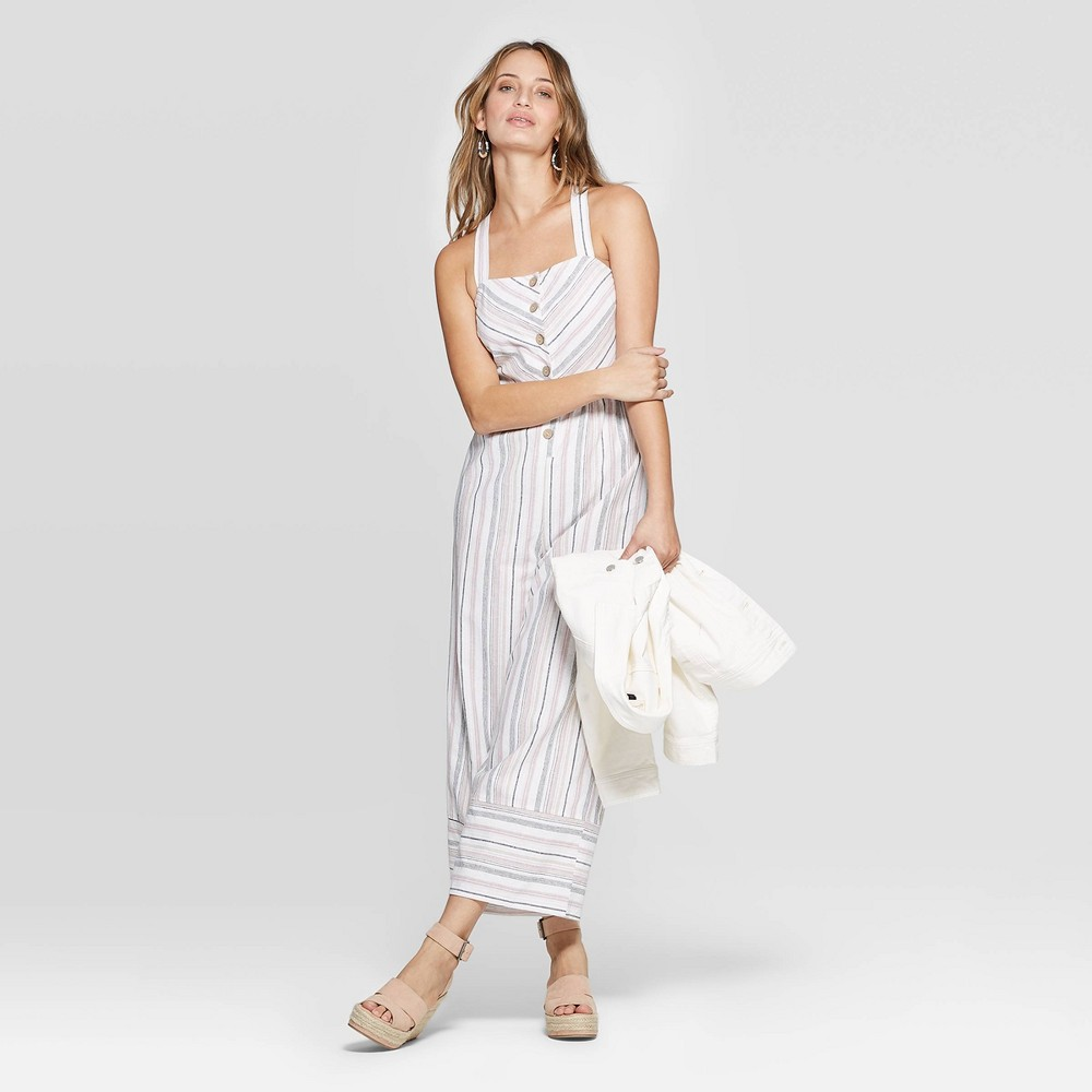 Women's Striped Sleeveless Square Neck Wide Leg Jumpsuit - Universal Thread White S