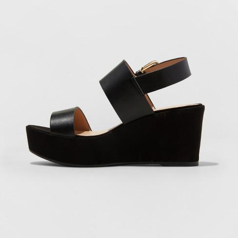 8fde90d4510 Women s Zenia Two Piece Flatform Slide Sandals - A New Day™ Black ...