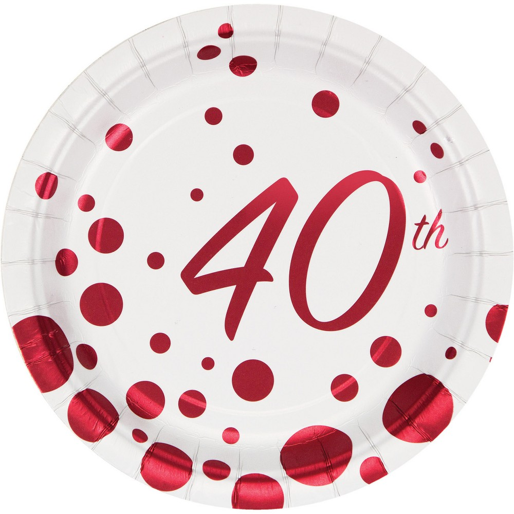 24ct Sparkle and Shine Ruby Foil 40th Anniversary Dessert Plates Red