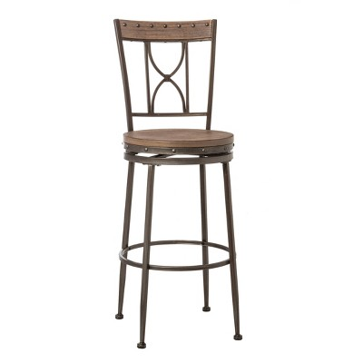 Paddock Swivel Counter Height Barstool - Brushed Steel/Distressed Brown - Hillsdale Furniture