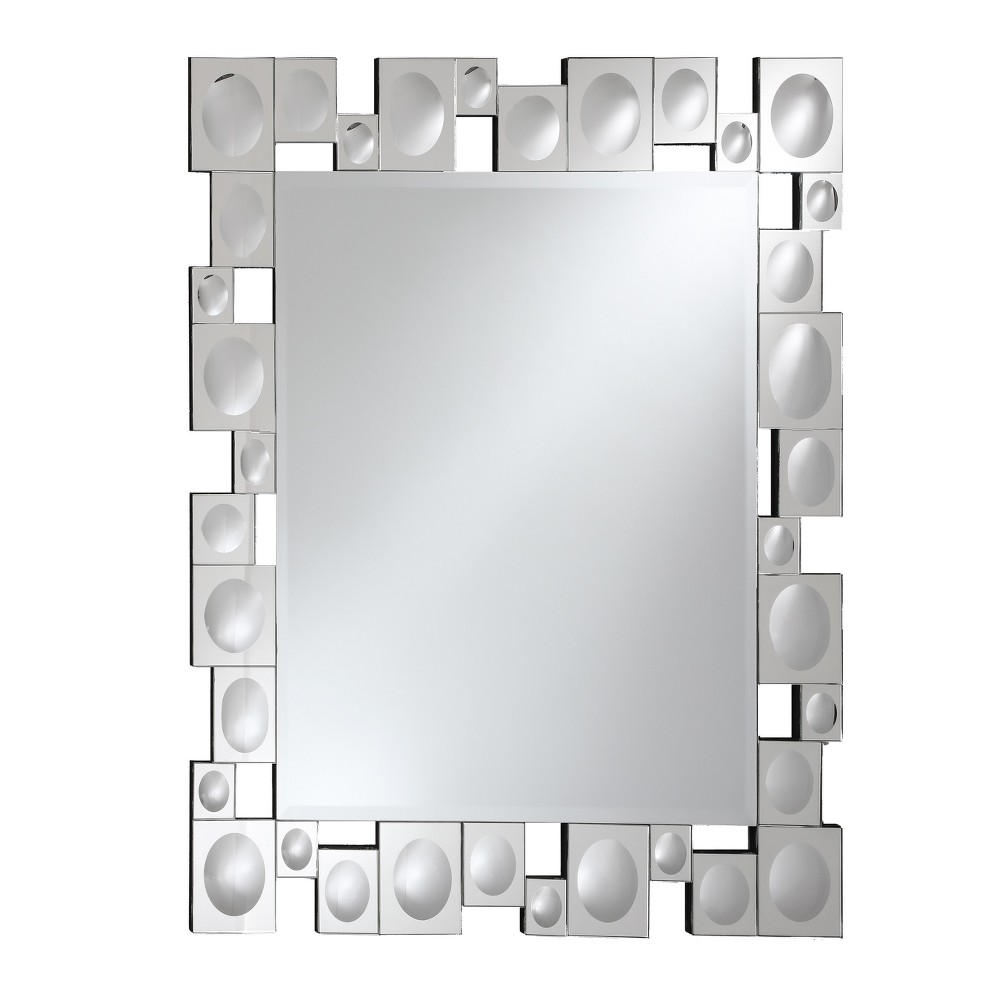 Rectangular Beveled Frameless Wall Mirror with Retro Modern Squares and Convex Circles Mirrored Border Silver 24