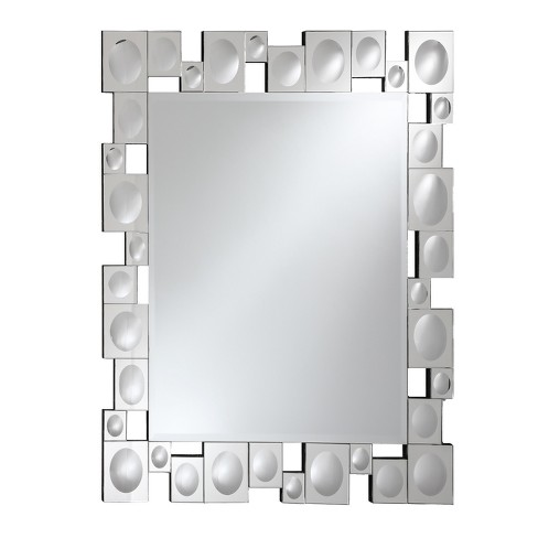 Rectangular Beveled Frameless Wall Mirror With Retro Modern Squares And Convex Circles Mirrored Border Silver 24 X 28 Breeze Point
