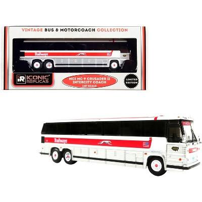 "1980 MCI MC-9 Crusader II Intercity Coach Bus ""Trailways"" White & Silver w/Red Stripe 1/87 (HO) Diecast Model by Iconic Replicas"