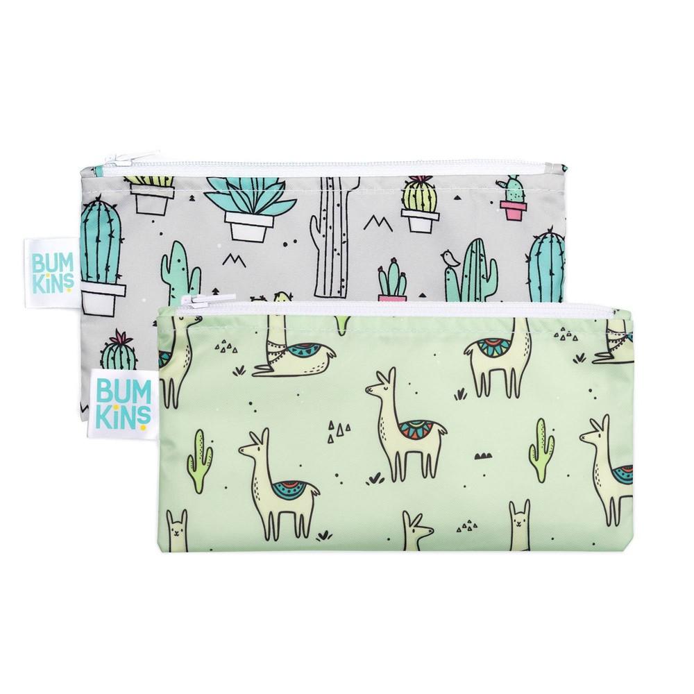 Image of Bumkins Reusable Snack Bag 2-Pack Llamas/Cacti