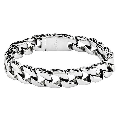 3212cbeeb2bcf Men's Crucible Stainless Steel Antiqued Vine Curb Chain Link Bracelet  (11mm) - Silver (8.5