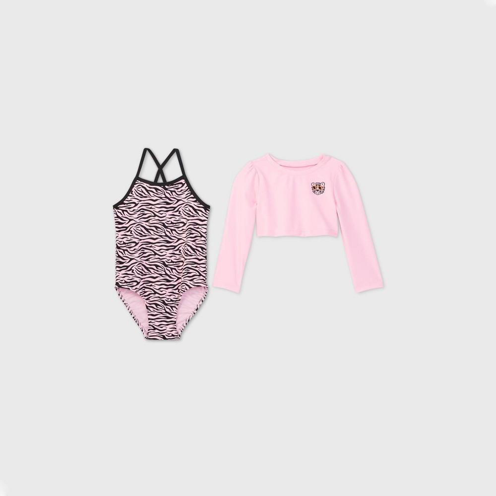 Toddler Girls 39 2pc Zebra Print One Piece Swimsuit And Long Sleeve Crop Top Rash Guard Set Cat 38 Jack 8482 Pink 2t