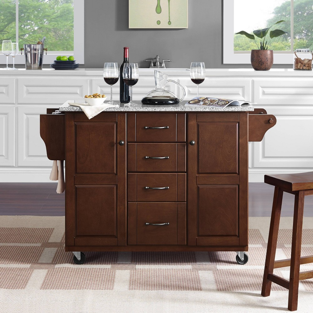 Eleanor Kitchen Cart with Solid Granite Top Mahogany (Brown) - Crosley