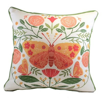 """Home Decor 17.0"""" Butterfly Cluster Pillow Spring Flowers  -  Decorative Pillow"""