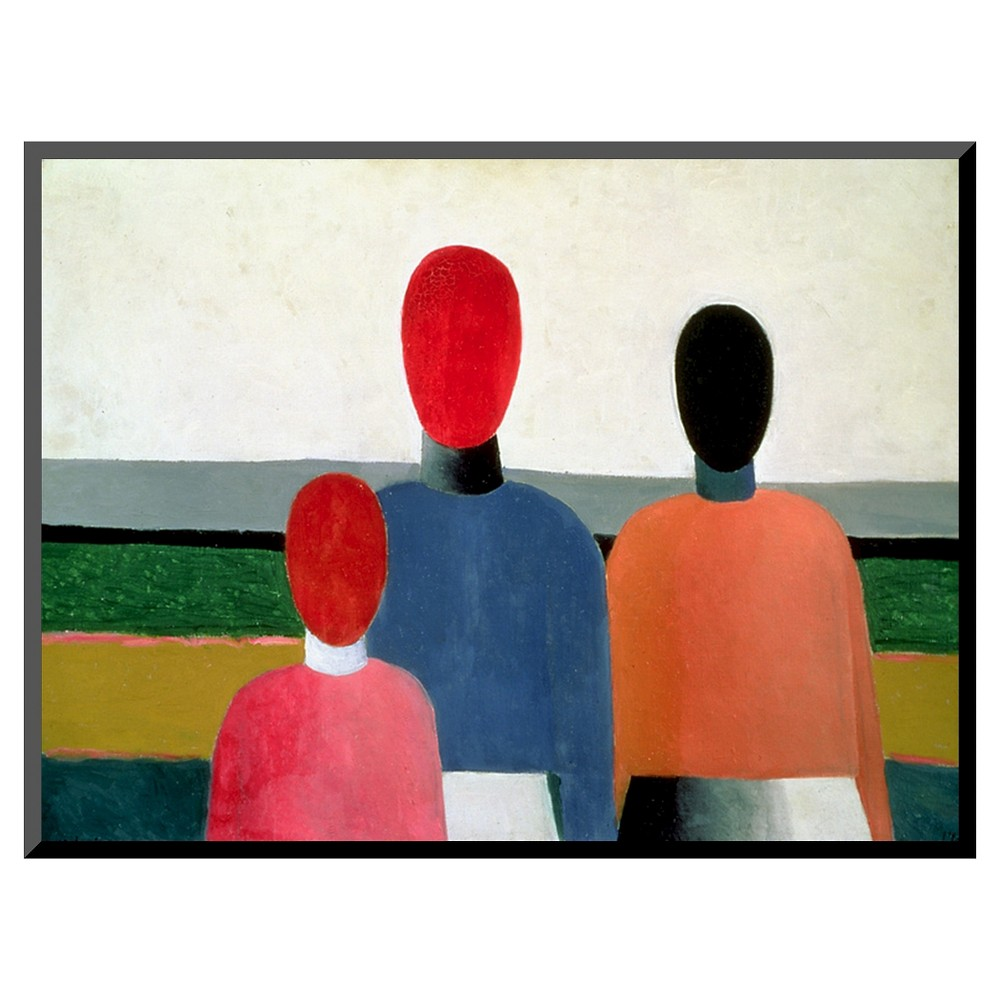 Art.com Three Female Figures, 1928-32 by Kasimir Malevich - Mounted Print, Multi-Colored