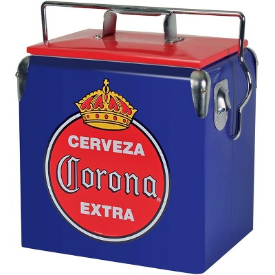 Koolatron 14 Quart 18 Can Capacity Portable Retro Corona Ice Chest Stainless Steel Hard Cooler with Built In Bottle Opener and Self Locking Lid, Blue