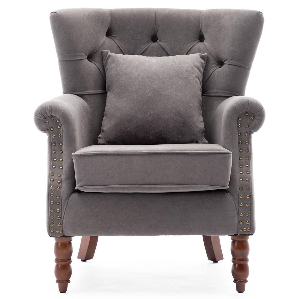 Upholstered Wingback Chair Gray Kinwell