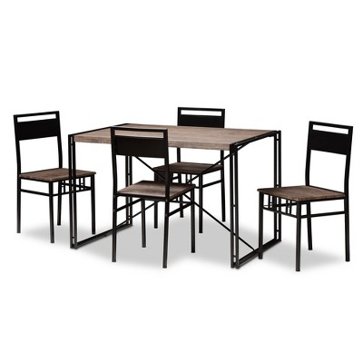 5pc Mamaine Rustic and Industrial Wood Finished Matte Frame Dining Set Light Brown - Baxton Studio