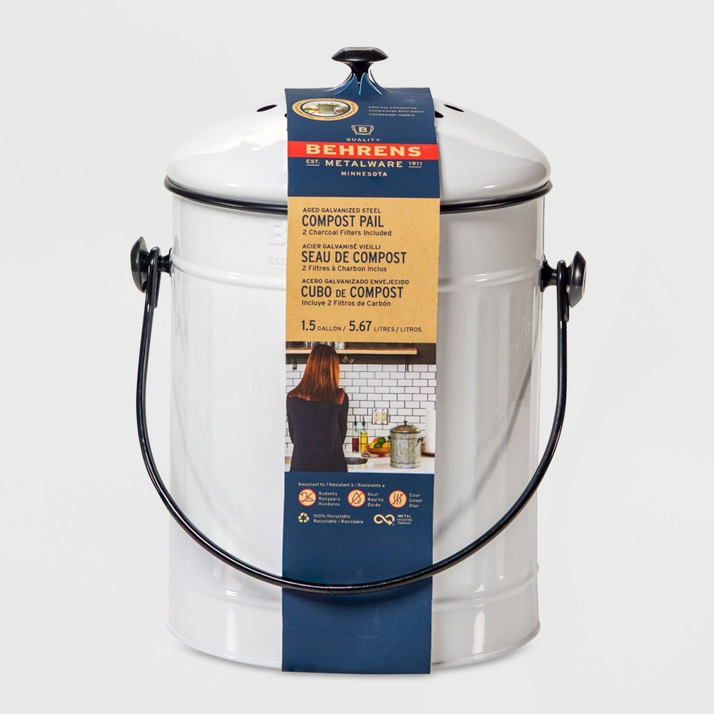 Image of Behrens Small 1.5gal Galvanized Compost Can - White