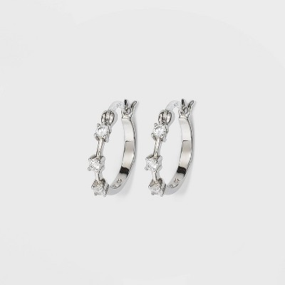 Sterling Silver Cubic Zirconia Click Top Hoop Earrings - A New Day™ Silver