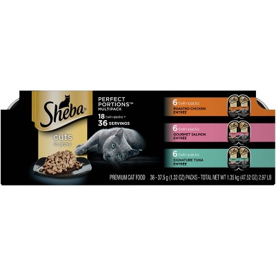 Sheba Perfect Portions Cuts In Gravy Chicken, Salmon & Tuna Entrée Premium Wet Cat Food - 2.6oz/18ct Variety Pack