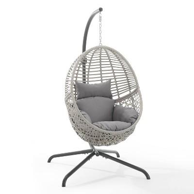 Lorelei Indoor/Outdoor Wicker Hanging Egg Chair & Stand - Gray - Crosley