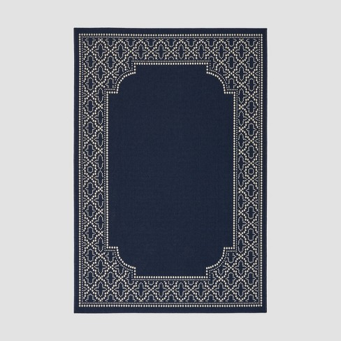 Midnight Border Outdoor Rug Navy/Ivory - Christopher Knight Home - image 1 of 5