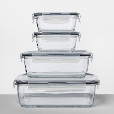 Rectangular Glass Food Storage Container 8pc Set   Made By Design™