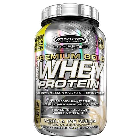Muscle Tech Premium Gold Whey Protein Powder - Vanilla Ice Cream - 2 5lbs
