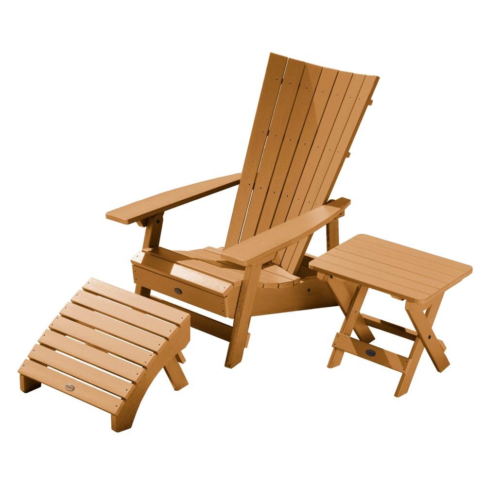 Manhattan Beach Adirondack Chair with Folding Adirondack Side Table & Ottoman Toffee - Highwood