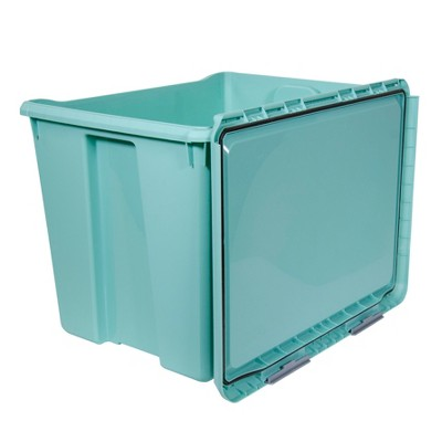 Superieur Hefty Hinged Lid Storage Box Jade Opaque 70qt