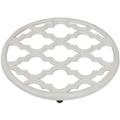 Home Basics Lattice Collection Cast Iron Trivet, White