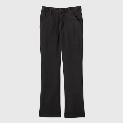 Girls' Flat Front Stretch Uniform Bootcut Fit Pants - Cat & Jack™ Black