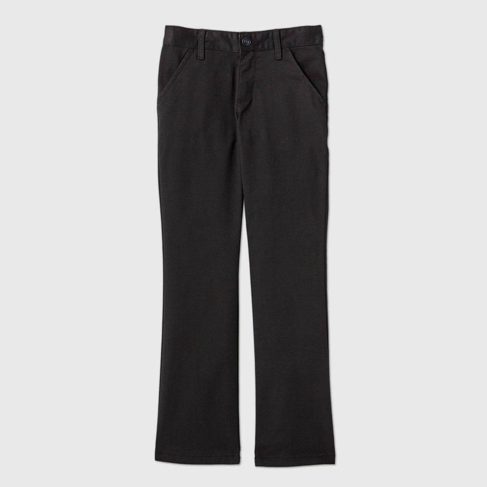 Girls 39 Flat Front Stretch Uniform Bootcut Fit Pants Cat 38 Jack 8482 Black 12