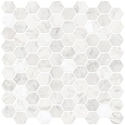 Brewster Hexagon Marble Peel & Stick Backsplash Tiles White