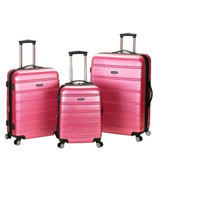 Rockland Melbourne 3pc Expandable ABS Spinner Luggage Set - Pink