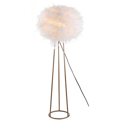 """52"""" Metal Feather Floor Lamp (Includes LED Light Bulb) White/Gold - Jonathan Y"""