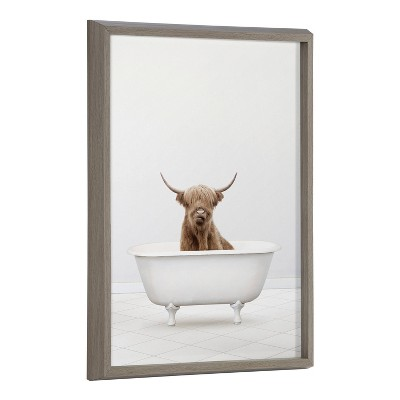"""18"""" x 24"""" Blake Highland Cow Solo Bathtub by Amy Peterson Framed Printed Art Gray - Kate & Laurel All Things Decor"""