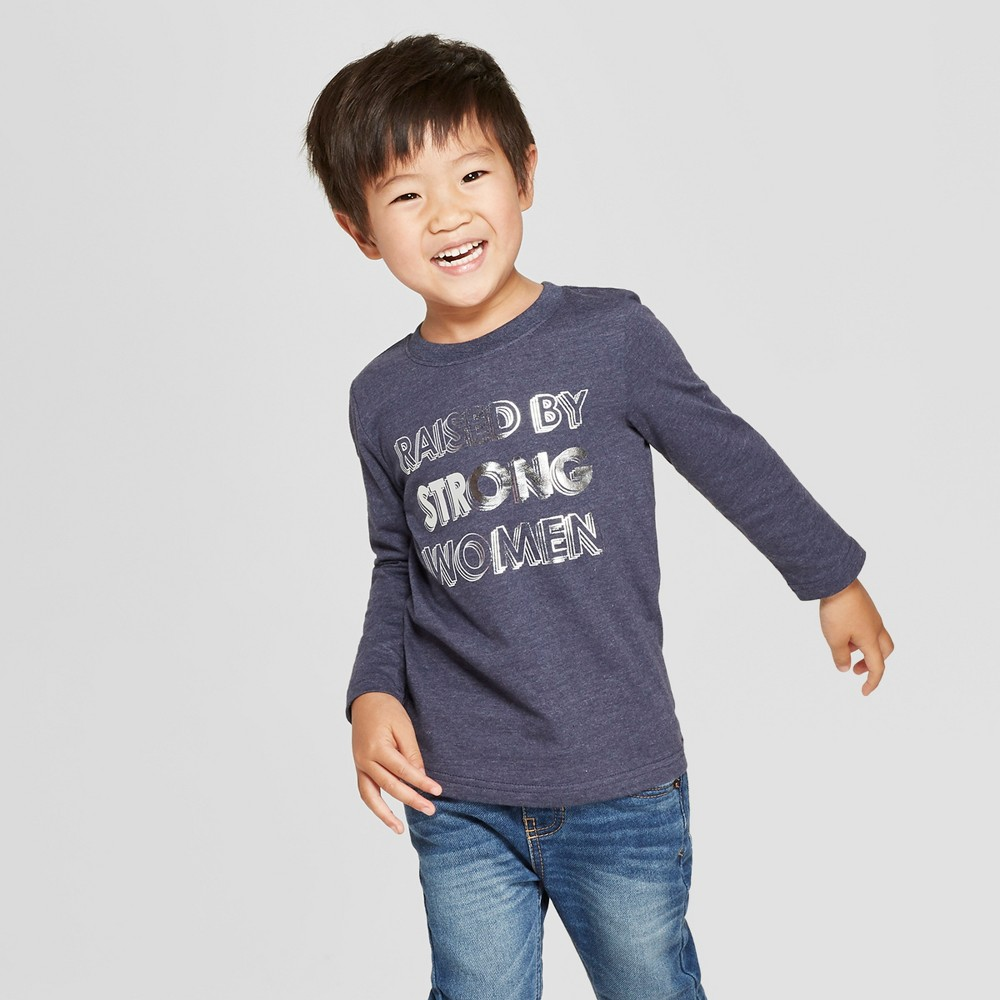 Toddler Boys' Raised by Strong Women Long Sleeve T-Shirt - Cat & Jack Navy 4T, Blue
