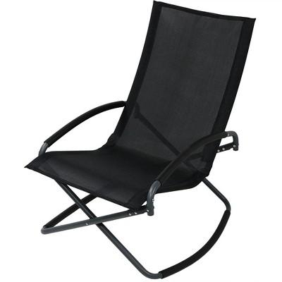 Folding Rocking Lounge Chair - Black - Sunnydaze Decor