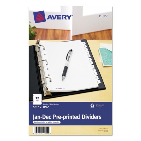 Avery® Small Preprinted Dividers, 5 1/2 x 8 1/2, White, Jan.-Dec. - image 1 of 3