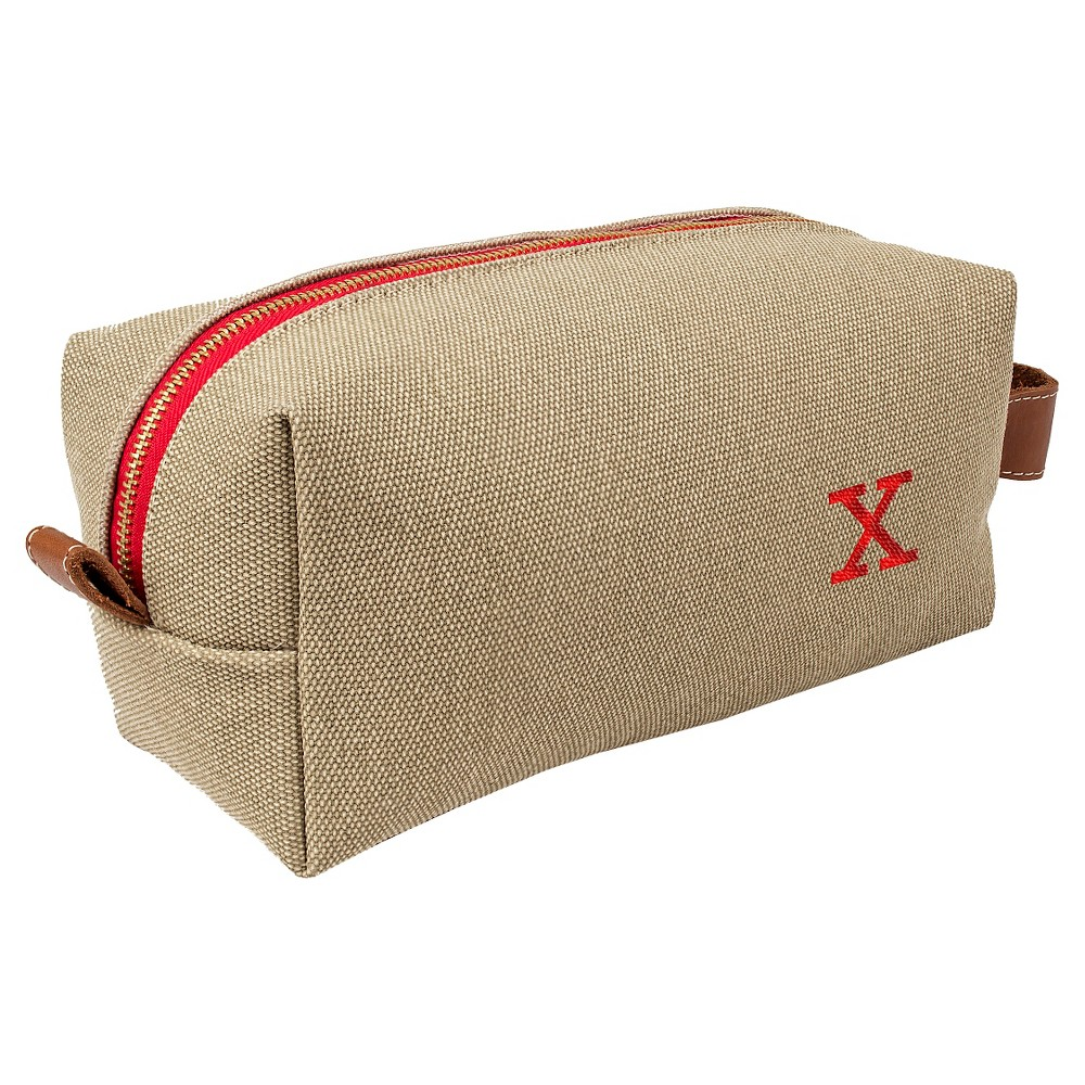 Personalized Tan Waxed Canvas & Leather Dopp Kit - X, Taupe Brown