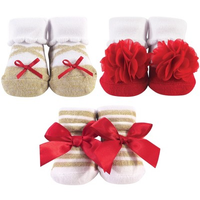 Hudson Baby Infant Girl Socks Boxed Giftset, Red Gold, One Size