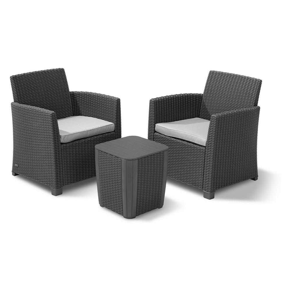 Corona 3pc Outdoor Resin Patio Balcony Set with Cushions Graphite (Grey) - Keter