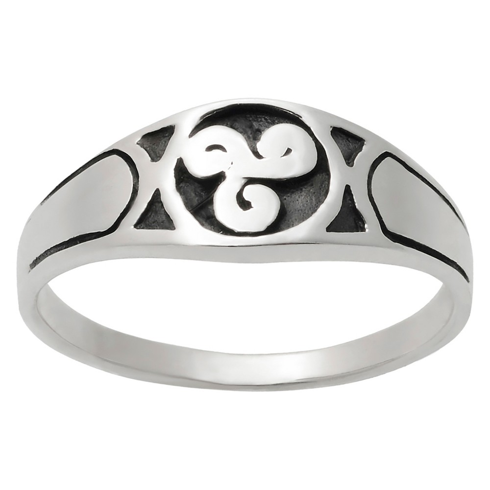 Women's Journee Collection Oxidized Celtic Swirl Design Ring in Sterling Silver - Silver, 9, Size: 8